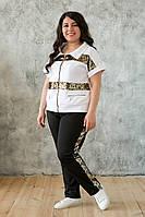 Модный спортивный костюм больших размеров Лойс белый