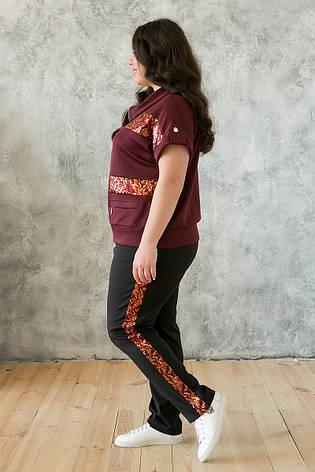 Стильный летний костюм больших размеров бордо, фото 2