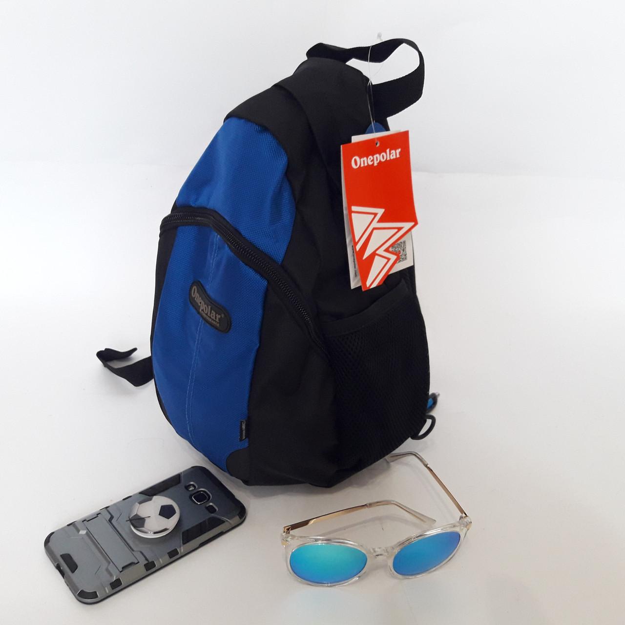 Однолямочный рюкзак 10 л One polar W1292 спортивный городской черно-синий