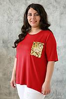Красная туника для полных женщин Лала