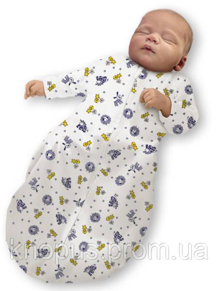 """Пеленка-кокон на молнии """"Крепкий сон 5"""" Summer+ """"Eko-Cotton"""",Веселая ферма, с рукавами, Ontario Baby"""