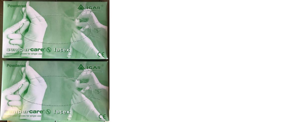 """Перчатки смотровые нестерильные припудренные латексные """"Sempercare"""""""
