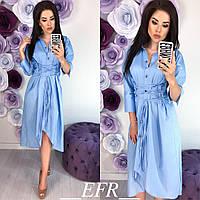Платье женское с завязками на талии (4 цвета)- Голубой ЕФ/-293