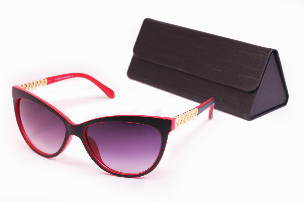 Солнцезащитные очки UV400 Черно-красные + Футляр Черный (F8118-3)