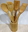 Набір бамбукових кухонних лопаток в підставці, фото 9