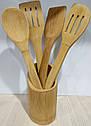 Набір бамбукових кухонних лопаток в підставці, фото 10