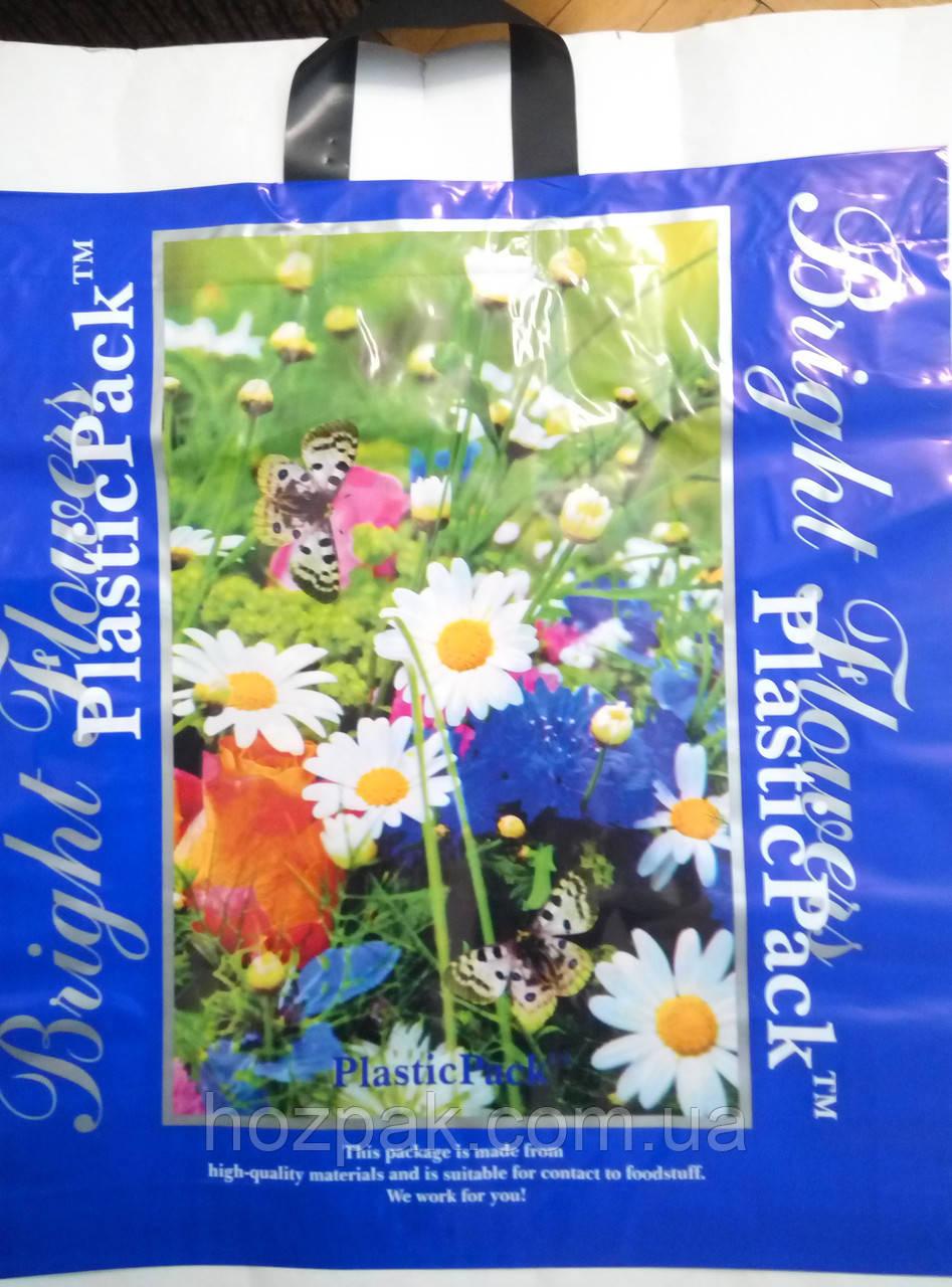 """Пакет плотный с петлевой ручкой """"Цветы"""" 47х49 см. 25шт."""