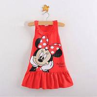 """Платье летнее """"Микки Маус"""", красное, на рост 80см"""