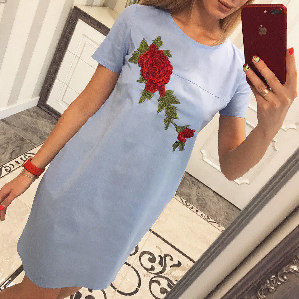 Лёгкое платье из хлопка Роза -бутон голубой