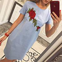 Лёгкое платье из хлопка Роза -бутон голубой, фото 1