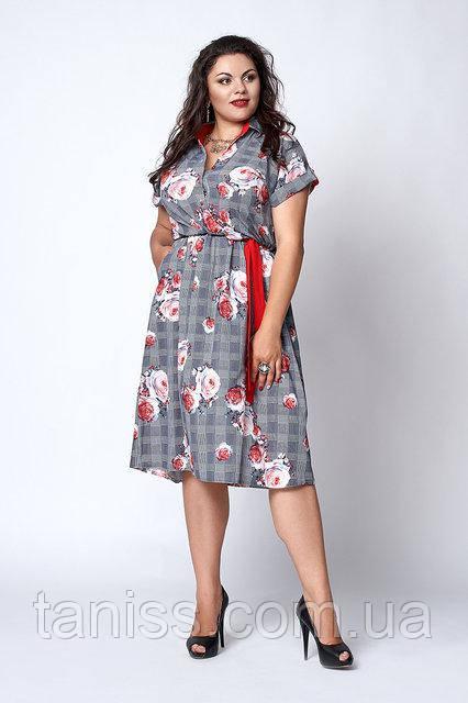 Деловое летнее платье большого размера, софт, на талии резинка р. 50,52,54,56 серое в розы (567)