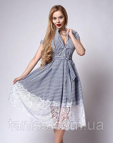 Летнее расклешенное платье с франц. кружевом р-р 44,46,48 полоска (701)