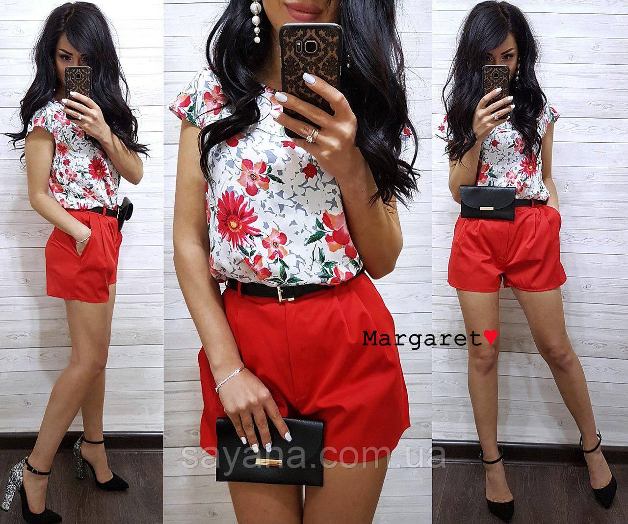 Женский костюм: шорты и блуза. БЛ-21-0618