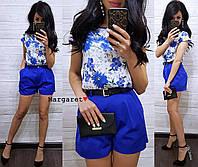 Женский костюм: шорты и блуза, в расцветках. БЛ-21-0618, фото 1
