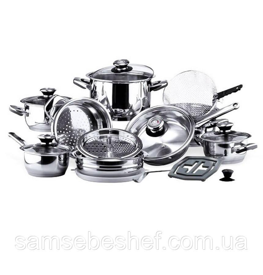 Набор кухонной посуды Vinzer Grand Cuisine Glass 24 предмета, 89024