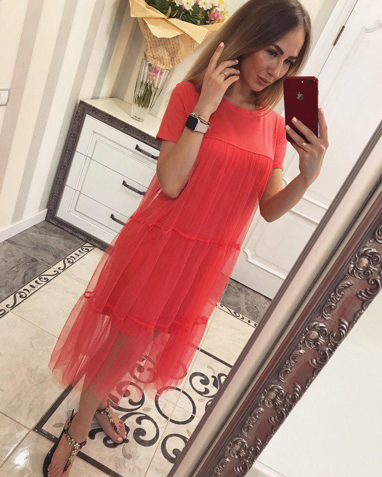 Стильное платье с фатином Лолли коралл