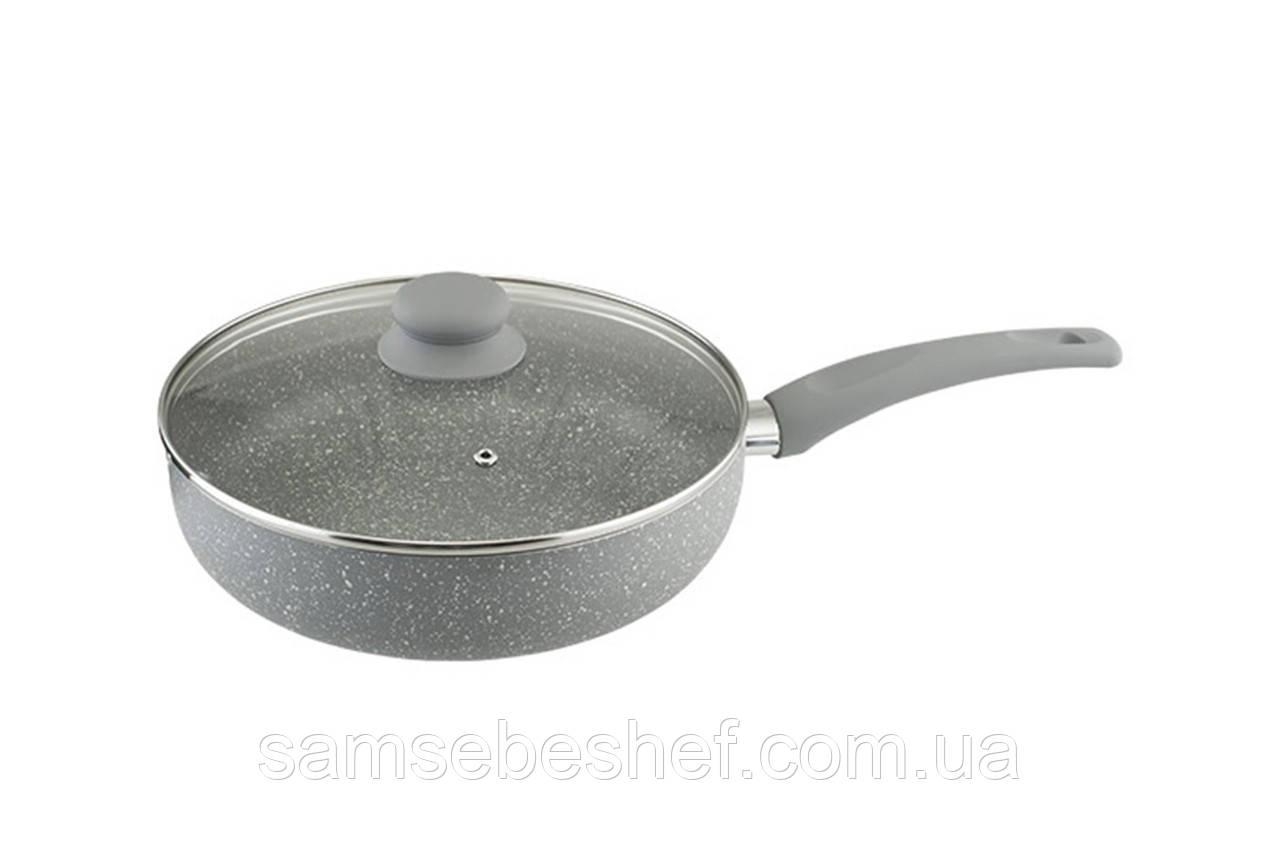 Сковорода с крышкой Vinzer Stone Line Induction 26 см, 89420