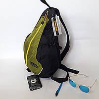 Фирменный качественный спортивный рюкзак Onepolar через одно плечо 20 л W1305 черно-зеленый