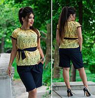 Женский костюм батал: блузка+ шорты