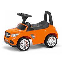 Машинка - каталка оранжевая, светятся фары, музыкальная