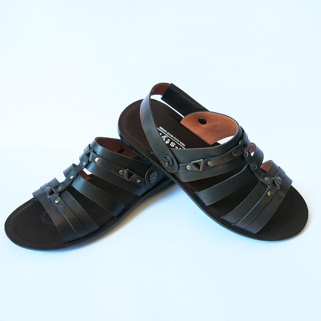 Удобные и стильные летние сандалии мужские кожаные цвета кабир от львовской обувной фабрики L-Style, тренд 2018