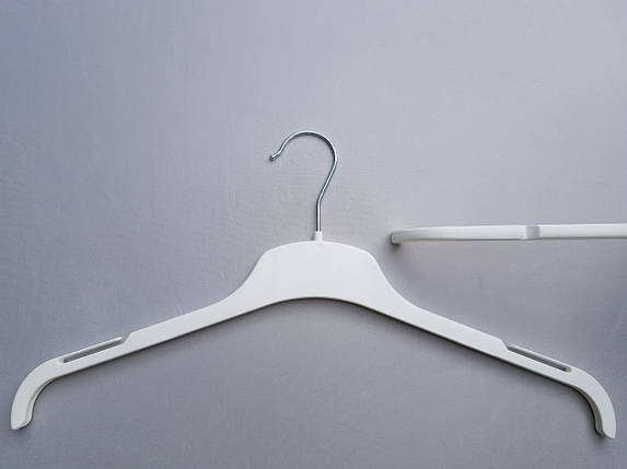 Плечики вешалки тремпеля V-L43 белого цвета, длина 43 см, фото 2