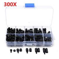 Suleve™ 300шт M3 нейлон черный Hex гайки Распорки Стенд-офф разной длины Ассортимент Комплект коробки