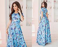 Элегантное льняное длинное в пол женское платье с поясом. 3 цвета. Размеры :42,44,46. Голубой, 44