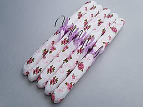 Плечики вешалки тремпеля мягкие тканевые для деликатных вещей цветастые, длина 38 см,в упаковке 5 штук, фото 3
