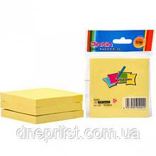 Бумага для заметок с липким слоем, 100 л, 76x76 мм, желтая