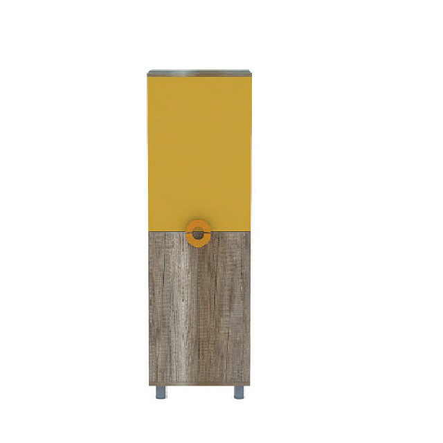 Шафа в дитячу кімнату з ДСП/МДФ мала HOBBY D Blonski 2-х дверна каньйон+жовтий