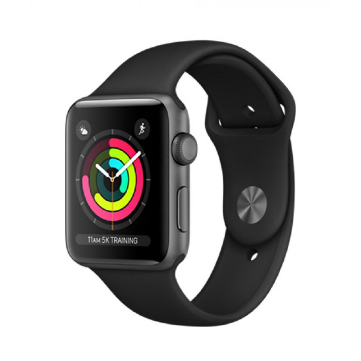 Apple Watch Series 3 GPS 42 мм Space Grey Aluminium Case with Black Ba