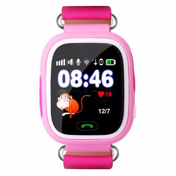 Детские умные часы-телефон с GPS трекером Smart Watch Q90 Розовые