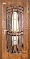 Входная металлическая бронированная дверь 209 со стеклопакетом и ковкой