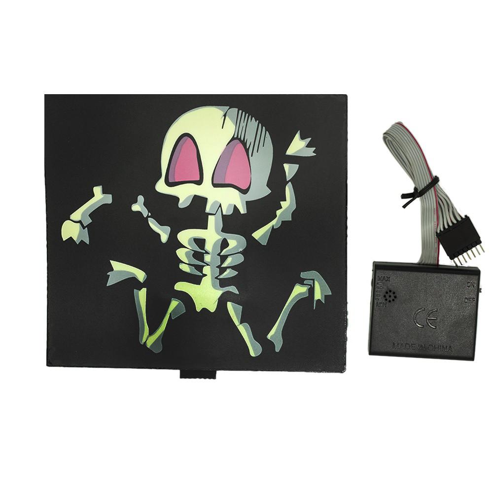 Наклейка светящаяся с эквалайзером Скелет