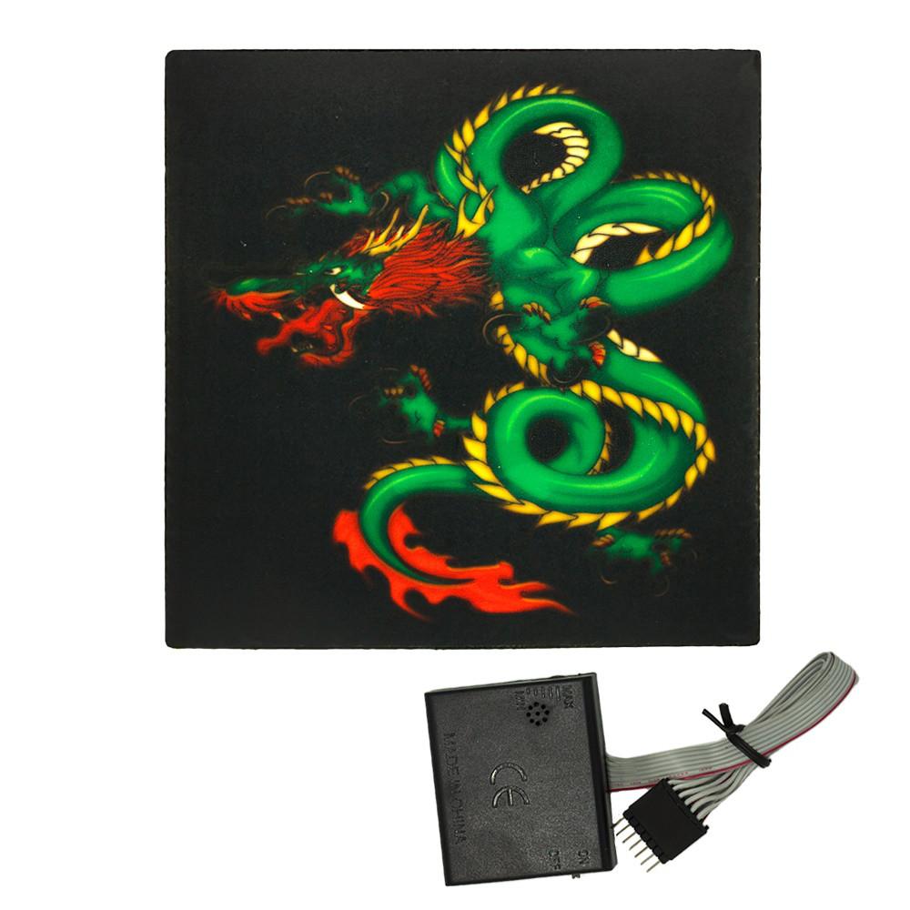 Наклейка светящаяся с эквалайзером Дракон