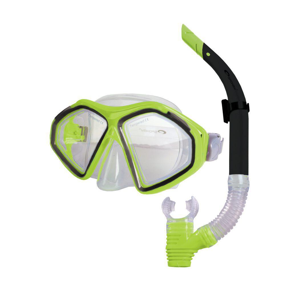 Маска для плавания Spokey Kraken II с трубкой для взрослых Зеленая (s0