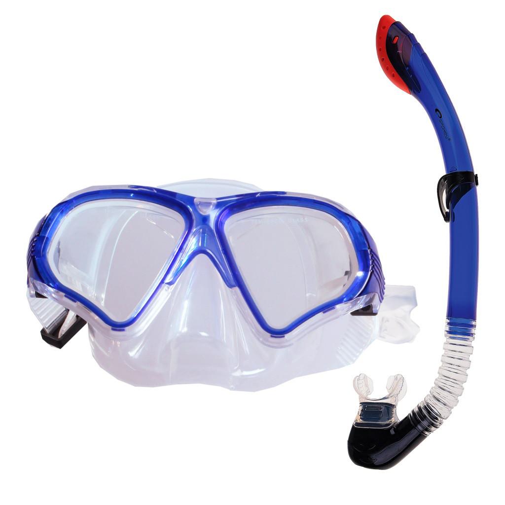 Маска для плавания Spokey Tortuga с трубкой для взрослых Синяя с белым