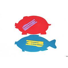 "Доска для пластилина ""ЛЮКС"" ( ЯБЛОКО РЫБКА ГРУША  ХРЮША ) + стеки арт.ДПФ-Ф"