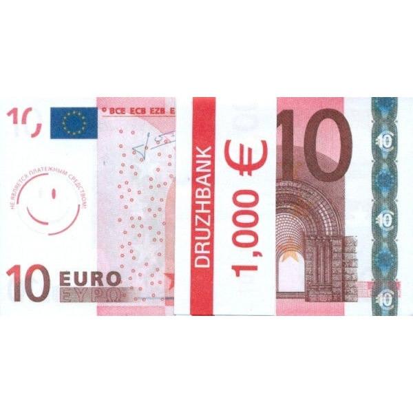 """Пачка денег (сувенир) №002 Евро """"10"""""""