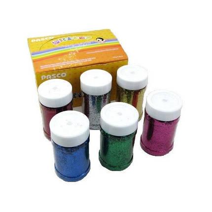 БЛЕСТКИ-присыпка в банке Pasco GL-008 (125 гр.) 6 цв./6 шт Мелкий глитер-песок/6уп,72ящ, фото 2