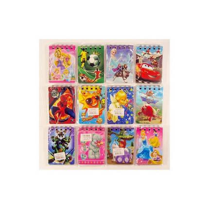 Блокнот на верхней спирале  B7 № 10080 (80 листов ) Детские популярные мультфильмы, фото 2