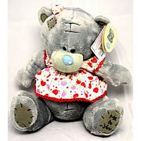Игрушка №00365 Мишка Тедди в платье (плюшевый) 17 сантиметров