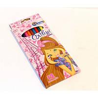 """Цветные карандаши пластиковые 12 цветов   № 1051W-12 """"Девочка"""" в картонной упаковке европейский стандарт (уп12\240)"""