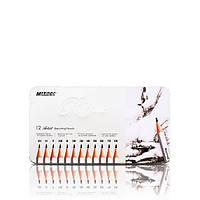 """Карандаш простой (графитовый) набор  Raffine №7000-12TN 12 штук """"MARCO""""  (в металлическом пенале)  от 2H -до 8B"""