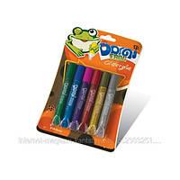 """Клей силикатный с блесками на блистере GG-001 (10.5 грамм.х6цветов.)""""Domi Frog""""  интенсив (бл 24/144)"""