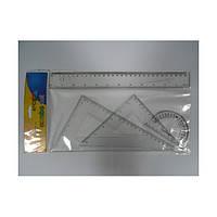 Набор линеек пластиковый  8025\8026 прозрачные  (линейка 30 см + 2 уголка + транспортир) h2mm, 40mm