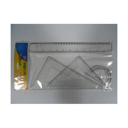 Набор линеек пластиковый  8025\8026 прозрачные  (линейка 30 см + 2 уголка + транспортир) h2mm, 40mm, фото 2