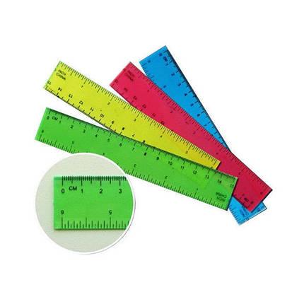 Линейка пластиковая прозрачная 15 сантиметров (23875-3В) Без этикетки (уп25), фото 2