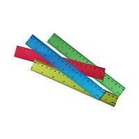 Линейка пластиковая прозрачная 20 сантиметров (23875-2В) Без этикетки  (уп25)
